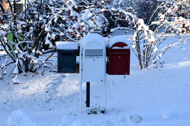 Snow coverd letter boxes